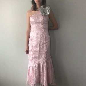 80's pink & silver mermaid gown